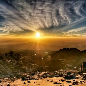 sunrise on mount kenya point Lenana